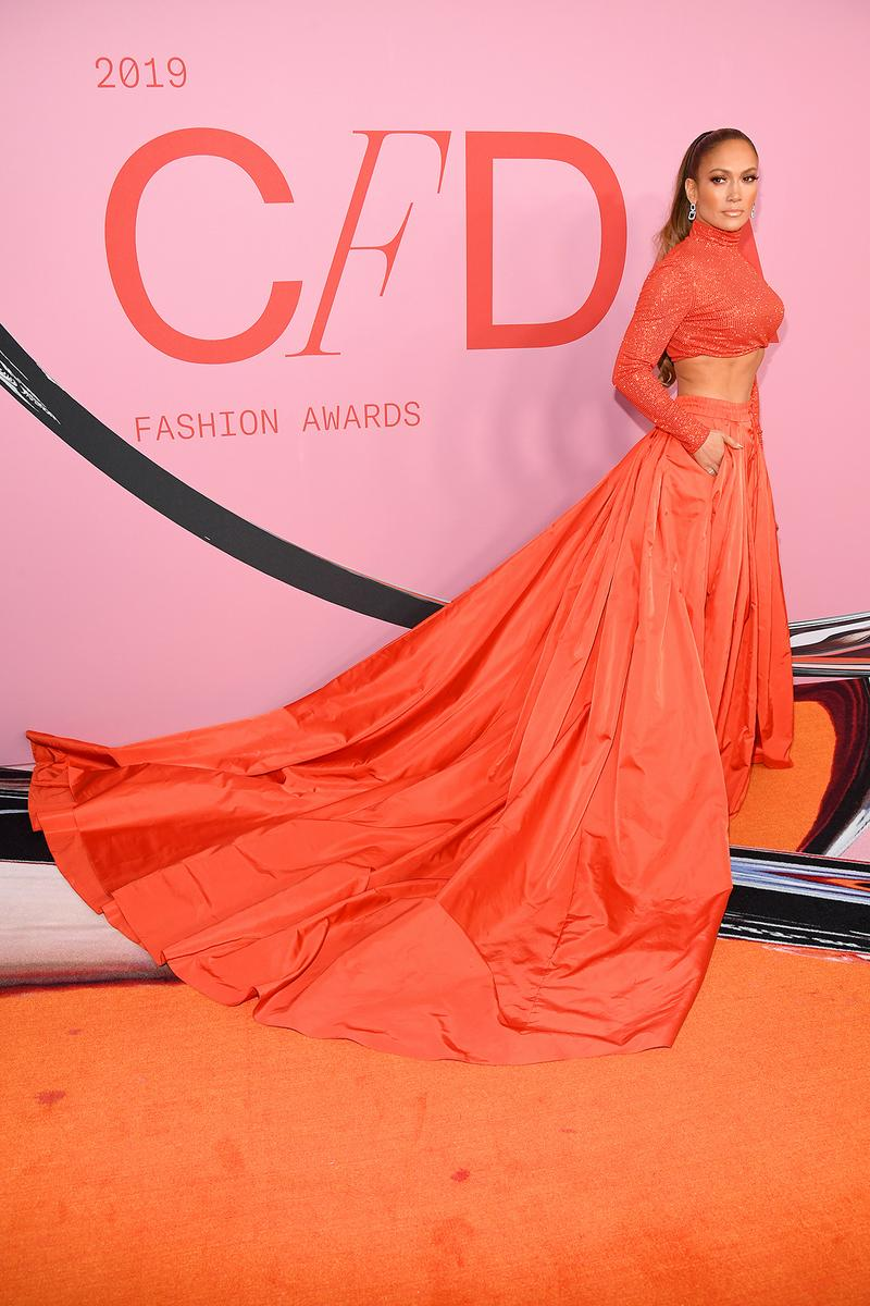 dfc9dd8b1184f3 Jennifer Lopez CFDA Fashion Awards 2019 Red Carpet Ralph Lauren Two Piece  Gown Orange