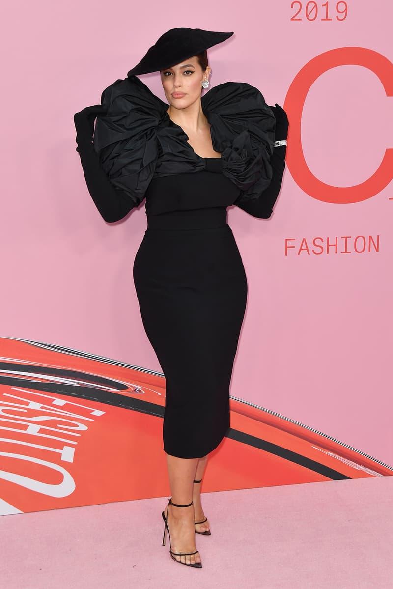 CFDA Fashion Awards 2019 Red Carpet Ashley Graham Hat Black Dress Christian Siriano