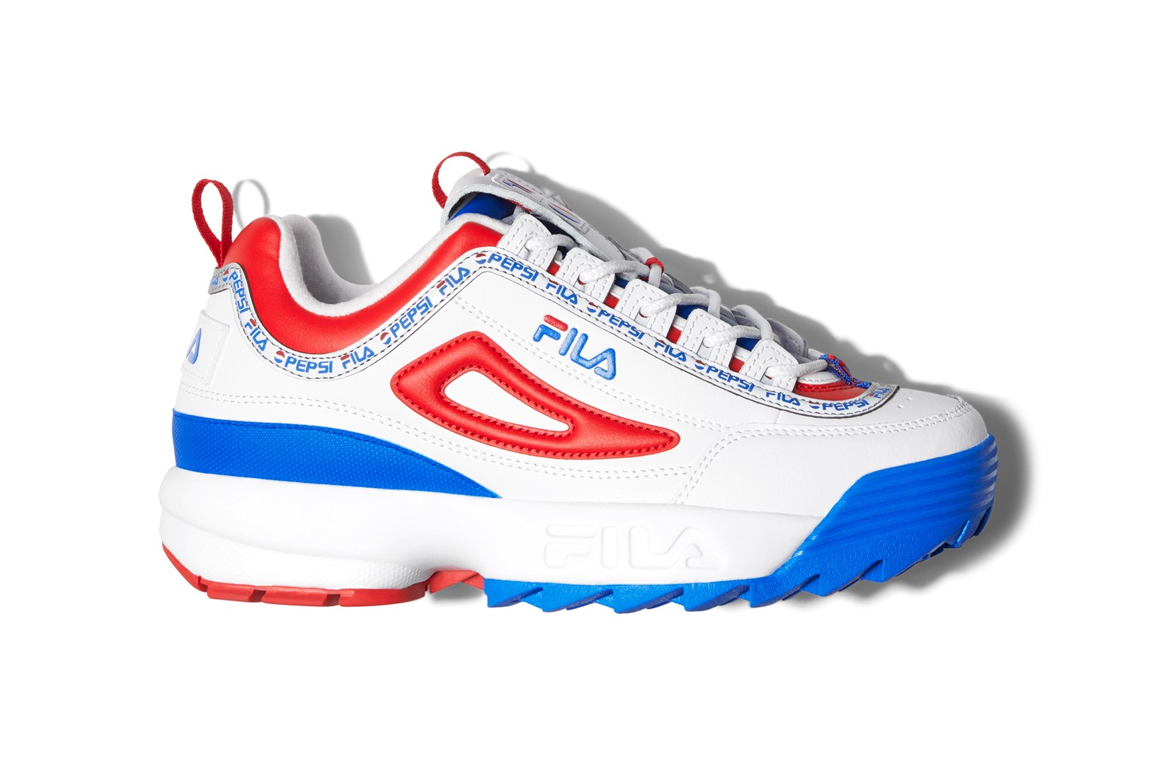 white and blue fila shoes