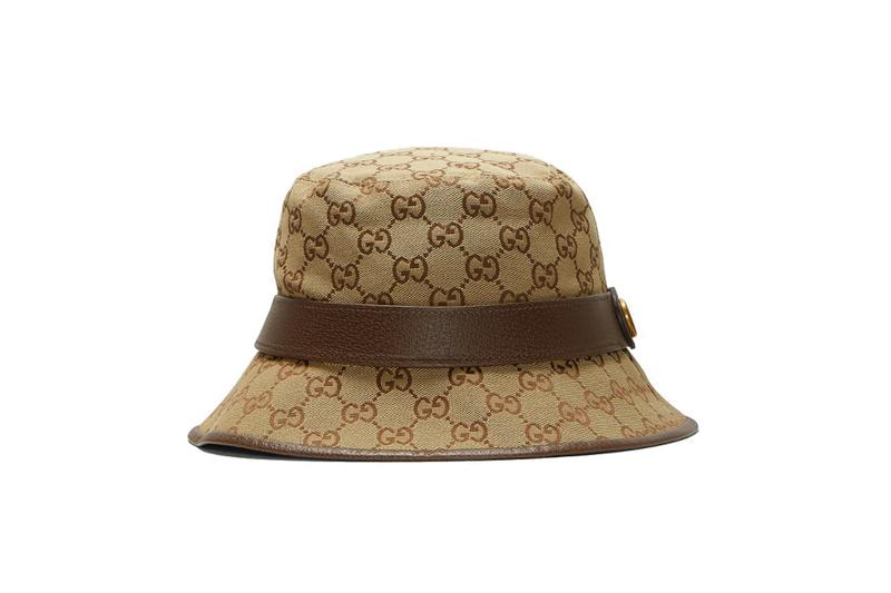 Gucci Logo Monogram Bucket Hat Brown Gold Print Summer Accessory Graphic