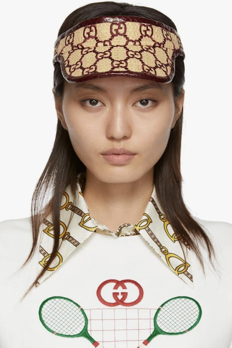 Gucci Monogram Logo Visor Hat Cap Accessory Summer Staple Print Luxury Beach Essentials Where to Buy Gucci Monogram hat