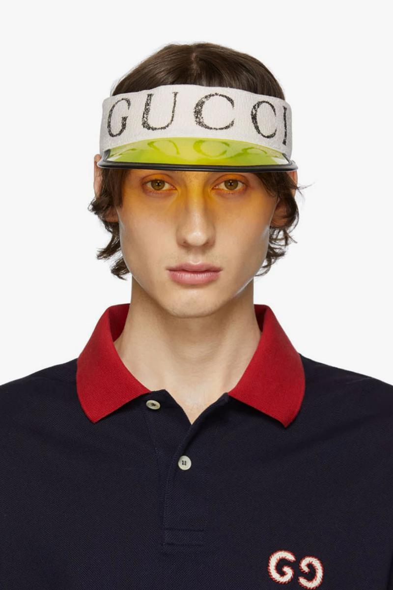 Gucci Off White Vinyl Sun Visor Yellow