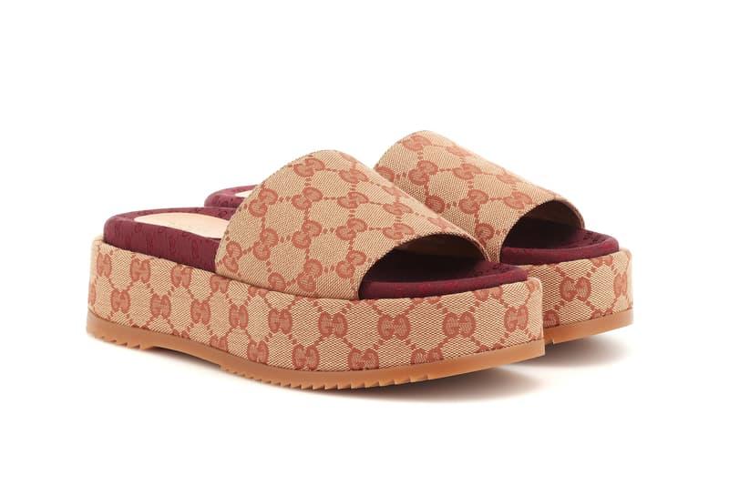 Gucci Original GG Platform Sandals Beige Ruggine Brown