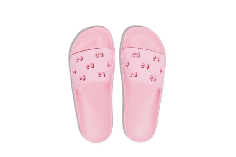 Gucci Logo Monogram Pink Pool Slides Summer Shoe Luxury Accessory Pastel Tone Fashion