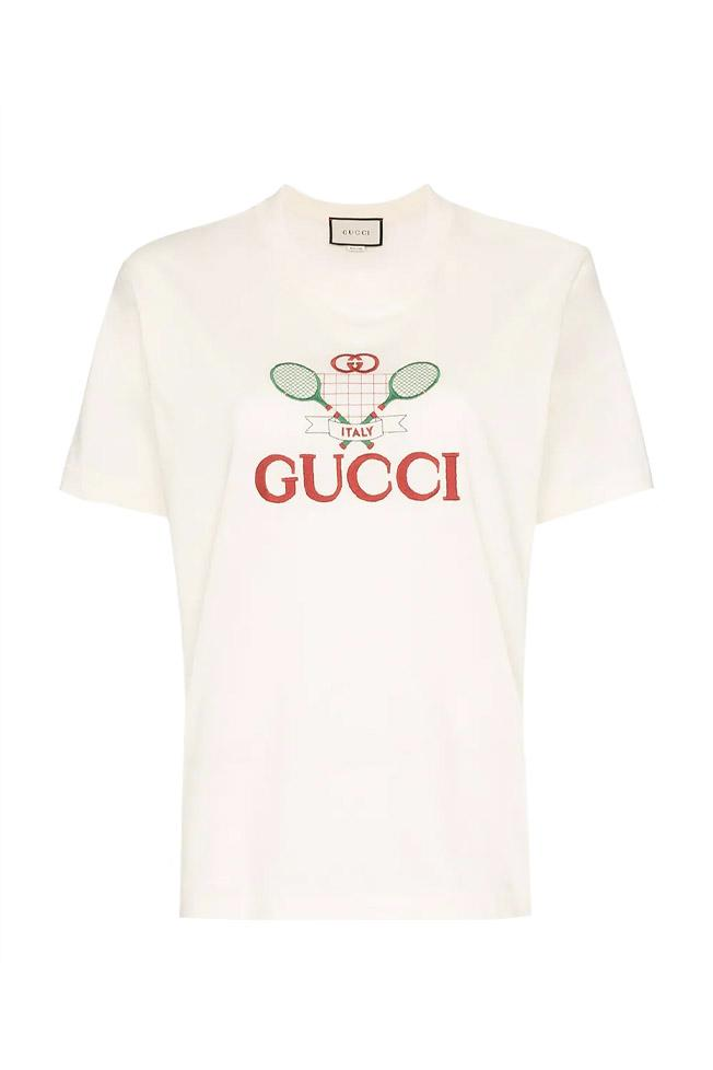 Gucci White Retro Logo T-Shirt Tennis Print Release Sporty