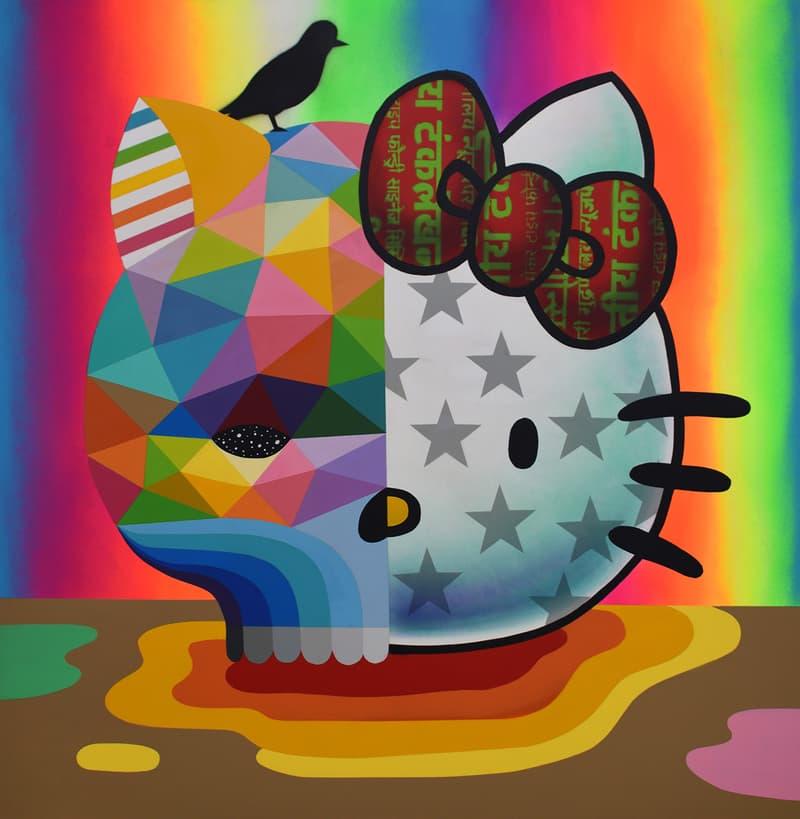Okuda San Miguel Hello Kitty Skull Art