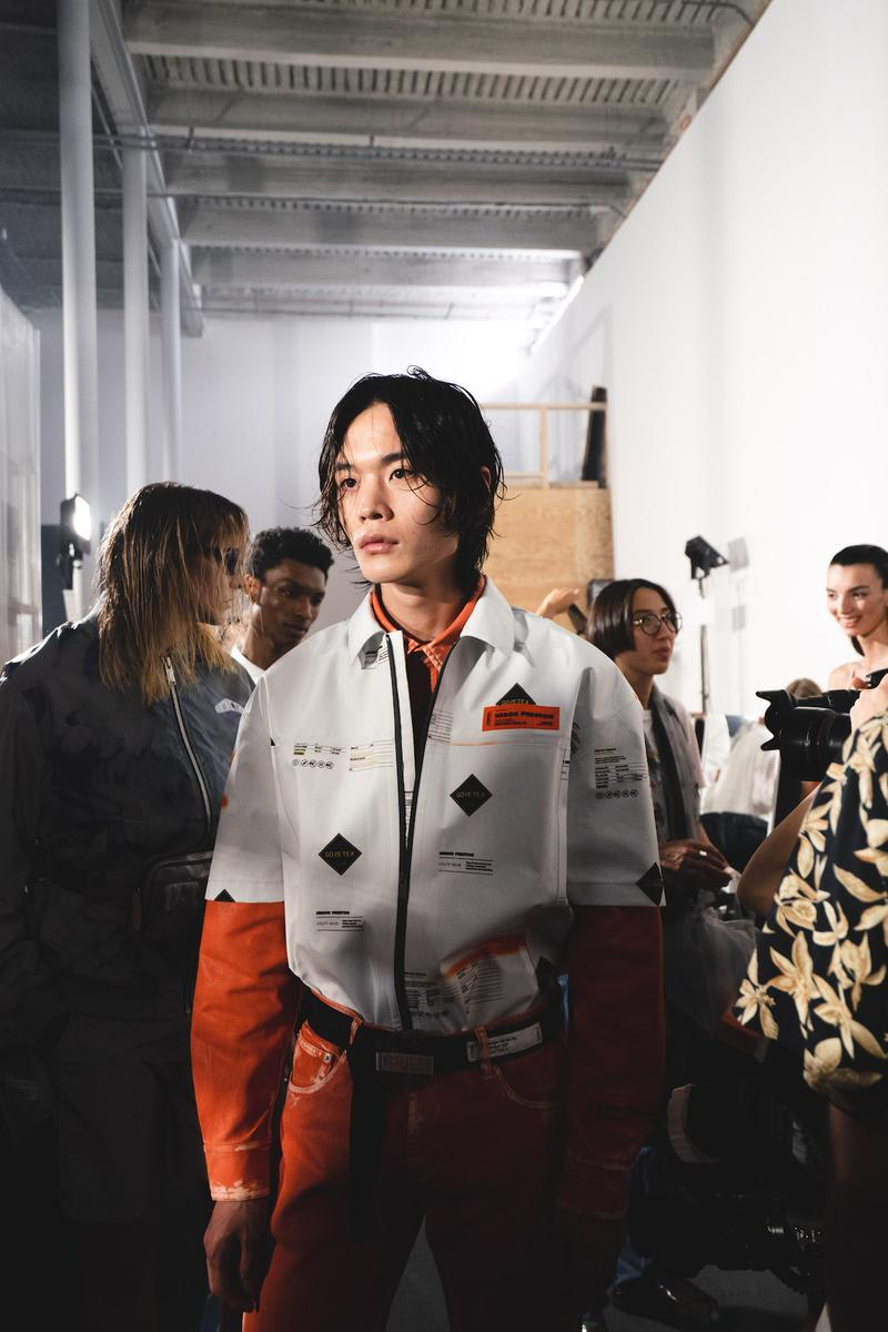 Heron Preston Spring/Summer 2020 Collection PFWM Paris Fashion Week Mens Backstage Gigi Hadid Nike GORE-TEX Collaboration Levis Alton Masson Range Behind The Scenes Streetwear