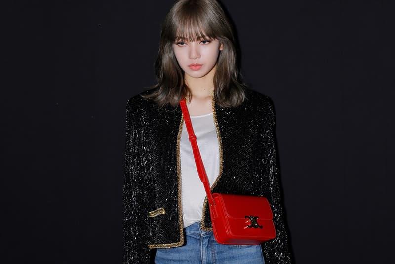 BLACKPINK Lisa Celebrity Outfit Paris Fashion Week Men's SS20 Spring Summer 2020 CELINE Hedi Slimane Red Bag Crossbody Jacket Jeans Boots Front Row