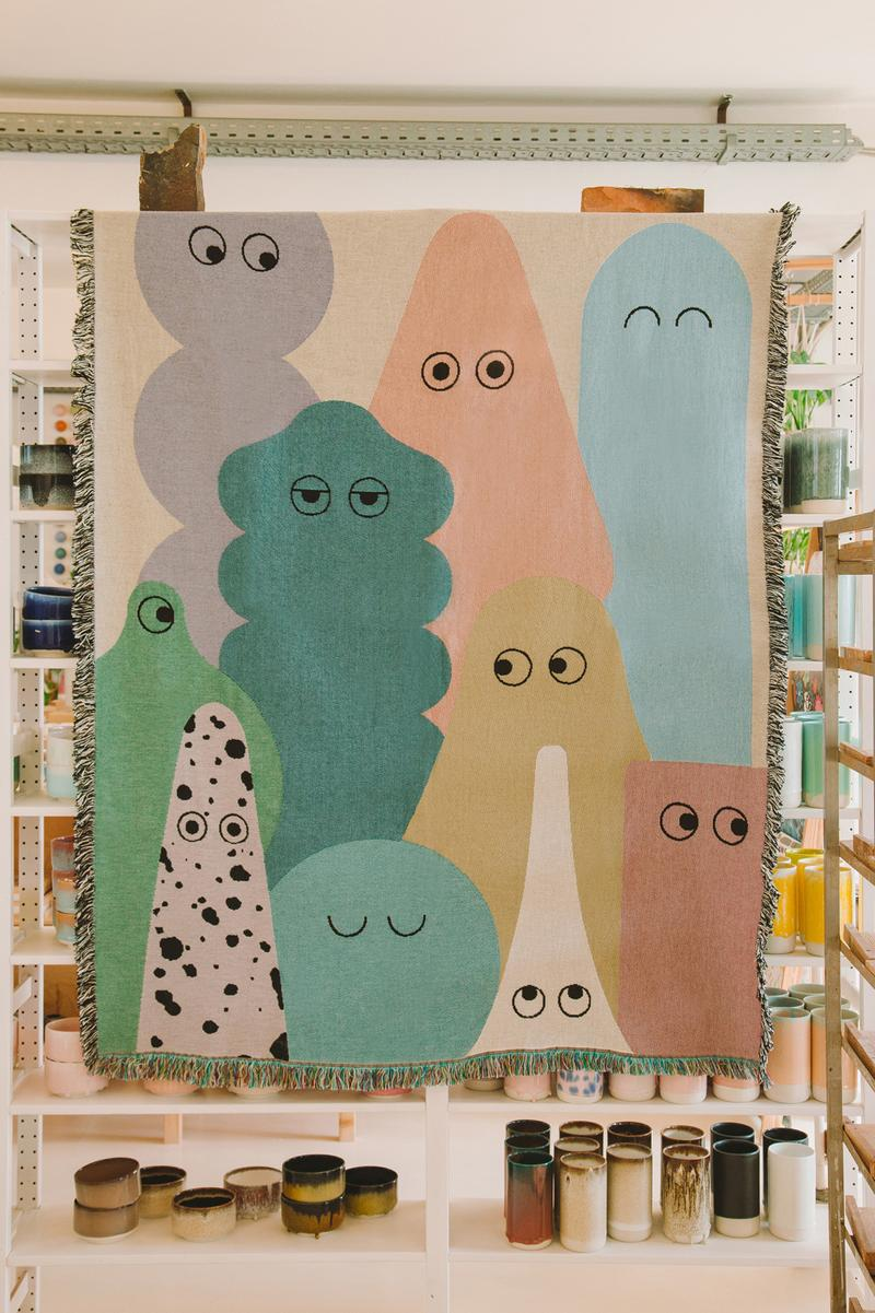 Studio Arhoj x Lazy Oaf Blanket White Pink Blue Green