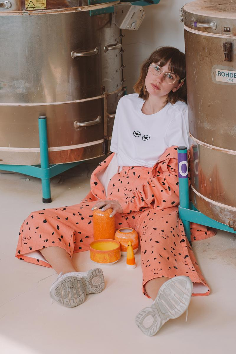 Studio Arhoj x Lazy Oaf T Shirt White Pants Orange
