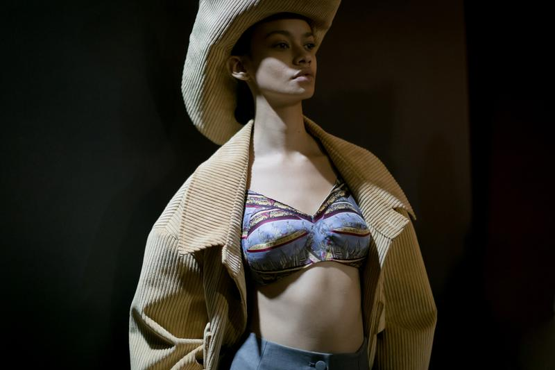 Vaquera Fall Winter 2018 New York Fashion Week Bustier Blue Jacket Hat Tan