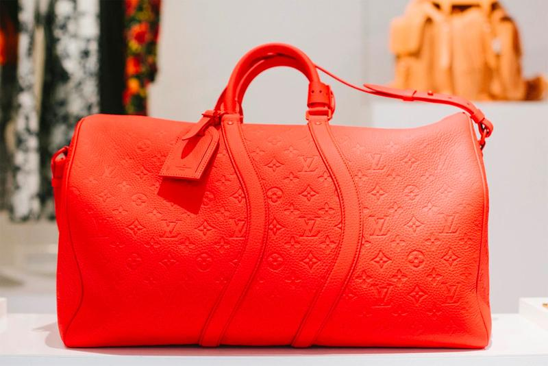 Louis Vuitton Leather Duffle Bag Red