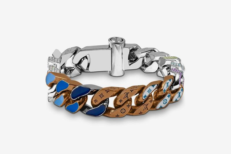 Louis Vuitton Virgil Abloh Spring Summer 2019 Monogram Bracelet Silver Brown Blue
