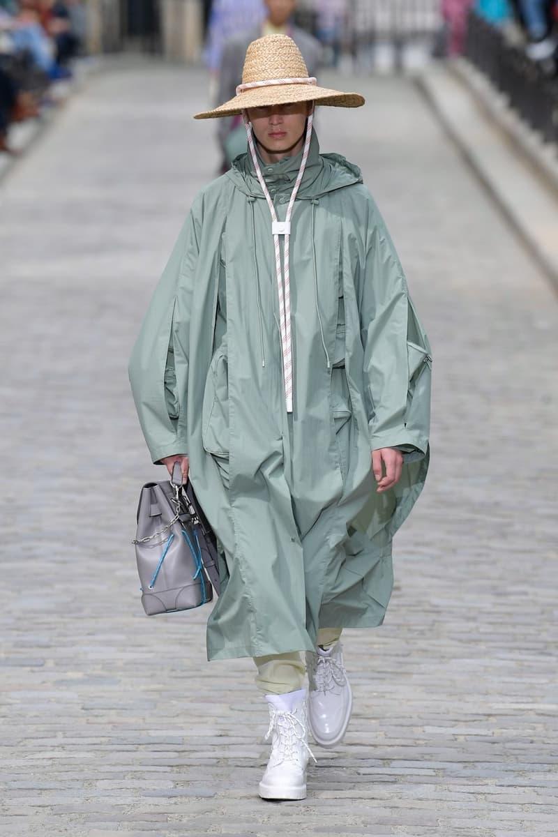 Louis Vuitton Virgil Abloh Spring Summer 2020 Paris Fashion Week Men's Show Collection Raincoat Green Pants White