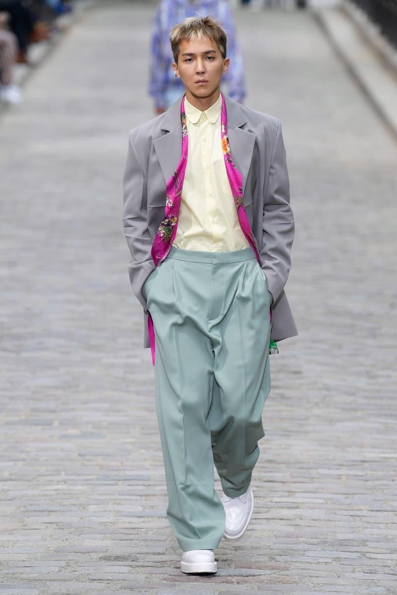 Louis Vuitton Virgil Abloh Spring Summer 2020 Paris Fashion Week Men's Show Collection Blazer Grey Shirt Yellow Pants Green