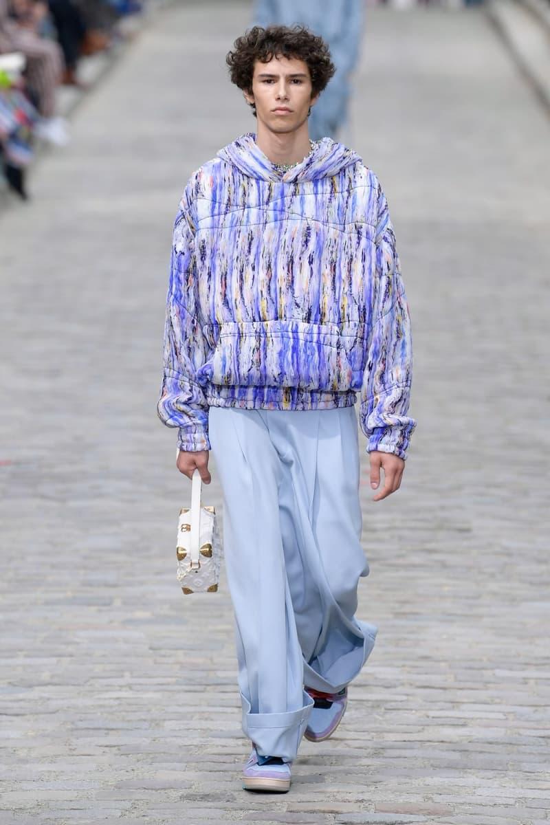 Louis Vuitton Virgil Abloh Spring Summer 2020 Paris Fashion Week Men's Show Collection Hoodie Purple Pants Blue