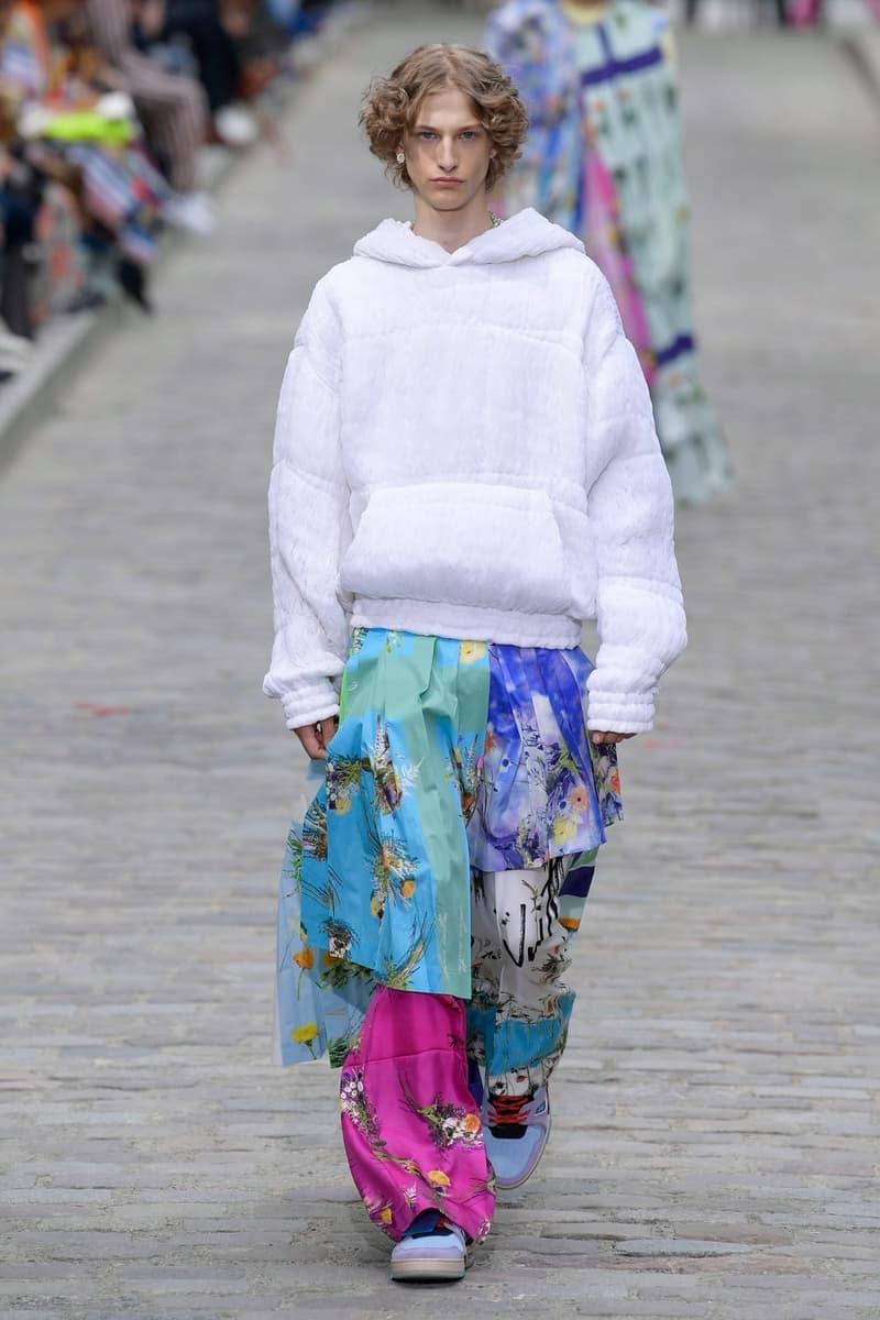 Louis Vuitton Virgil Abloh Spring Summer 2020 Paris Fashion Week Men's Show Collection Hoodie White Pants Pink Teal Purple