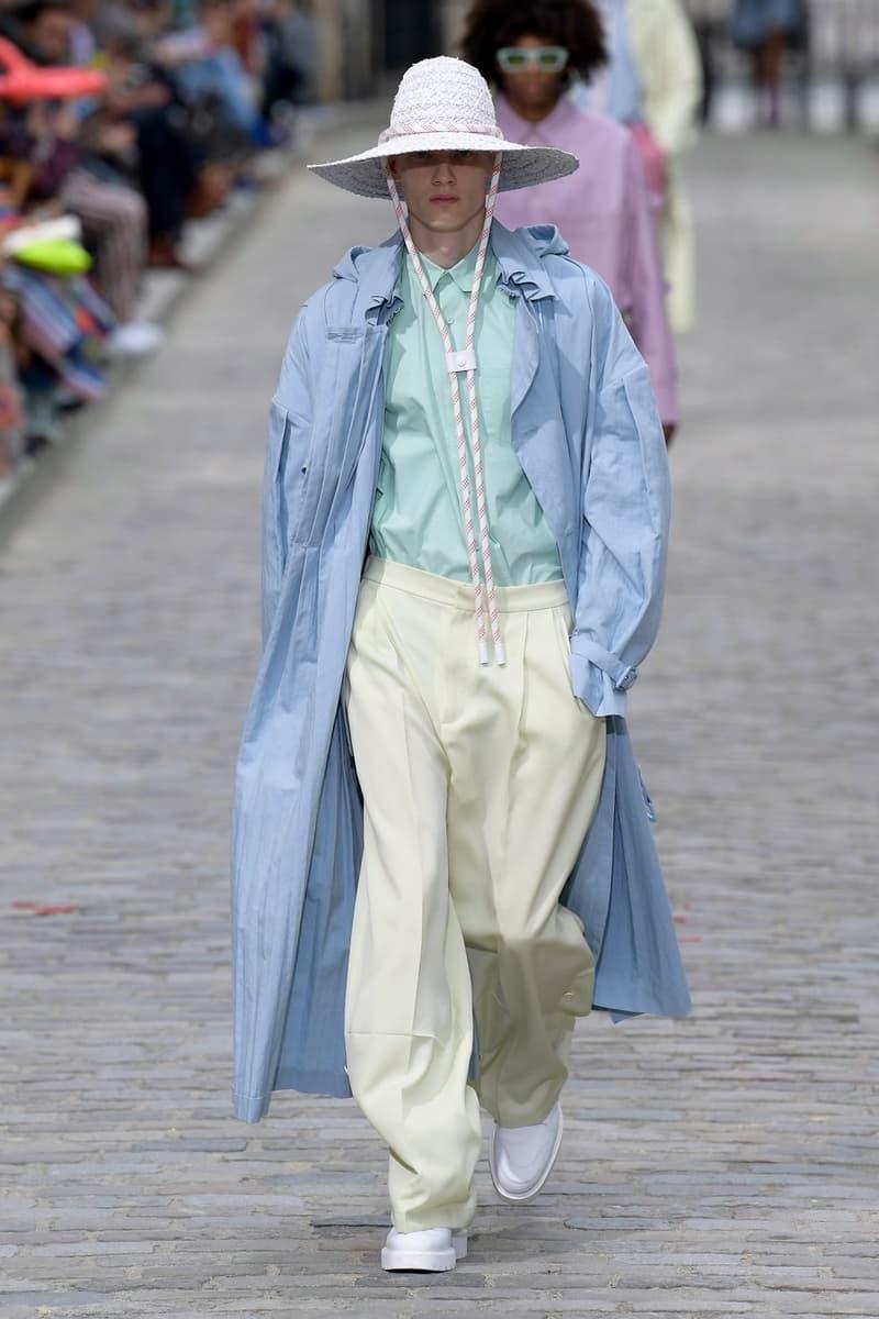 Louis Vuitton Virgil Abloh Spring Summer 2020 Paris Fashion Week Men's Show Collection Raincoat Blue Shirt Green Hat White Pants Yellow