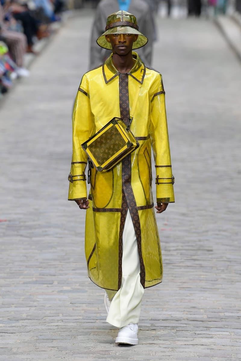 Louis Vuitton Virgil Abloh Spring Summer 2020 Paris Fashion Week Men's Show Collection Raincoat Yellow Brown Pants White