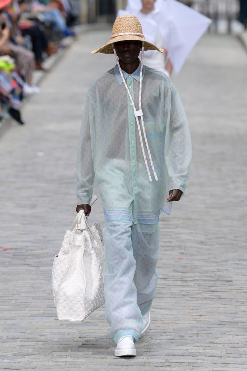 Louis Vuitton Virgil Abloh Spring Summer 2020 Paris Fashion Week Men's Show Collection Monogram Raincoat Green Pants Blue