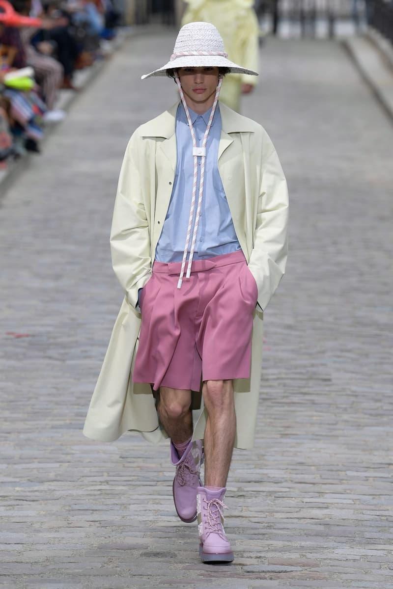Louis Vuitton Virgil Abloh Spring Summer 2020 Paris Fashion Week Men's Show Collection Jacket Yellow Shirt Blue Shorts Pink Hat White