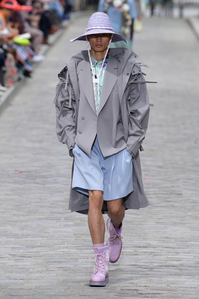 Louis Vuitton Virgil Abloh Spring Summer 2020 Paris Fashion Week Men's Show Collection Raincoat Grey Shorts Blue Shoes Purple