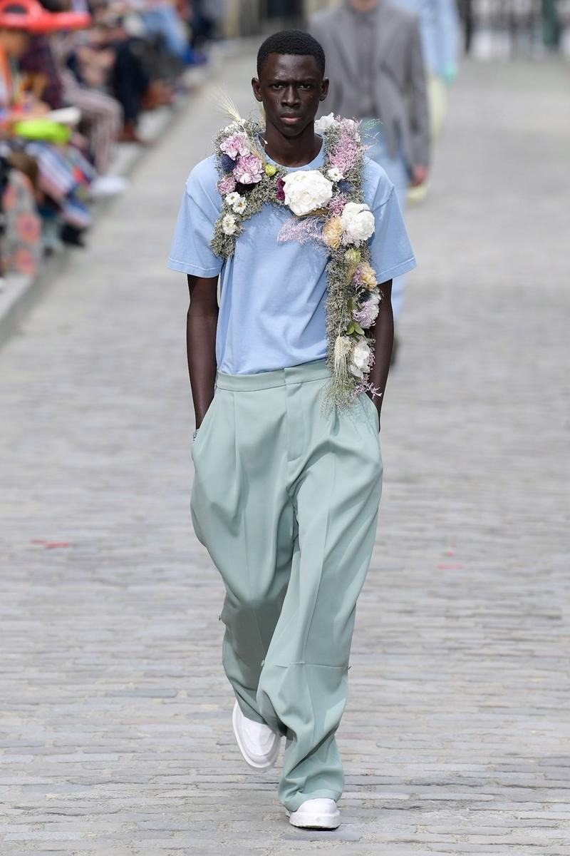 Louis Vuitton Virgil Abloh Spring Summer 2020 Paris Fashion Week Men's Show Collection Shirt Blue Pants Green