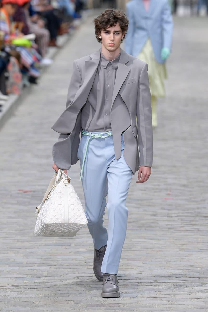 Louis Vuitton Virgil Abloh Spring Summer 2020 Paris Fashion Week Men's Show Collection Blazer Grey Pants Blue