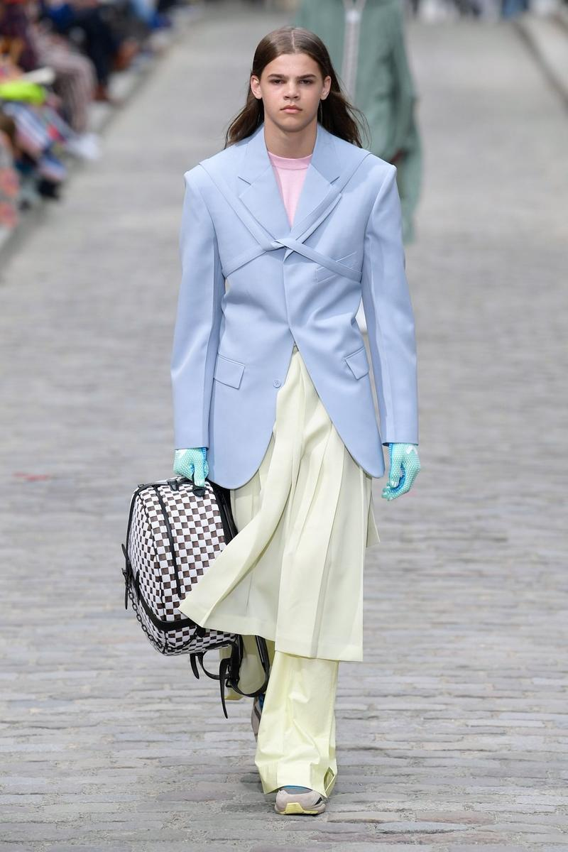 Louis Vuitton Virgil Abloh Spring Summer 2020 Paris Fashion Week Men's Show Collection Blazer Blue Pants Yellow