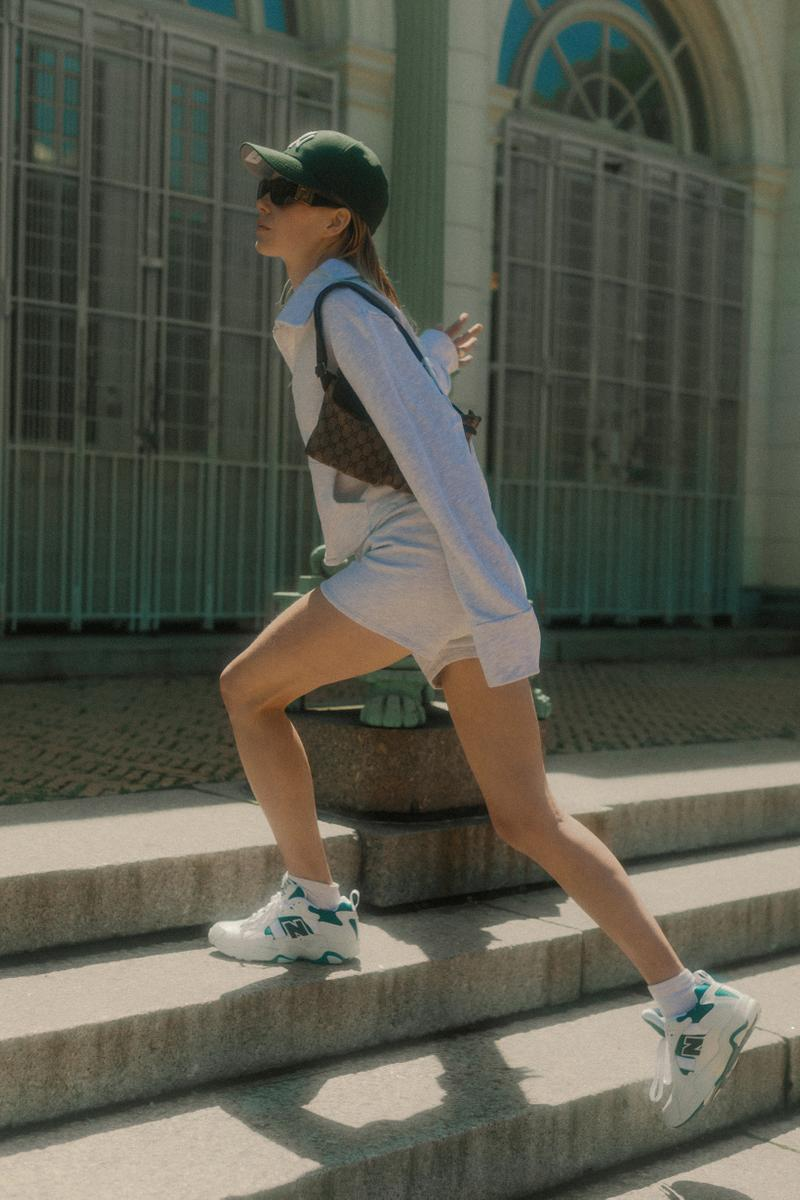 The Concept NY Vintage Summer Editorial Sweater Shorts Grey Fanny Pack Brown New Balance Sneakers White Blue