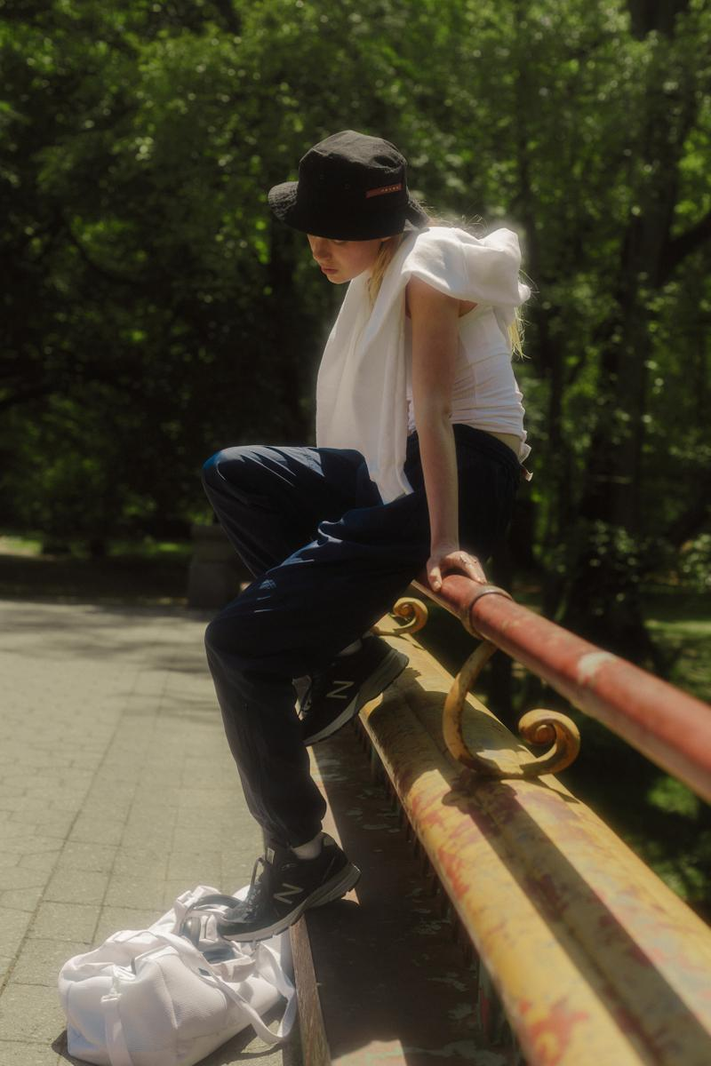 The Concept NY Vintage Summer Editorial Prada Bucket Hat Black Shirt White Sweatpants Blue