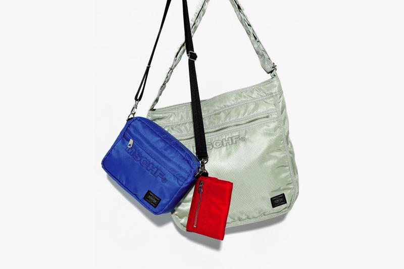 MSCHF Porter Bag Collaboration Collection Release Red Olive Tote Bag Nylon Limited Edition Drop Book Wallet Red Blue