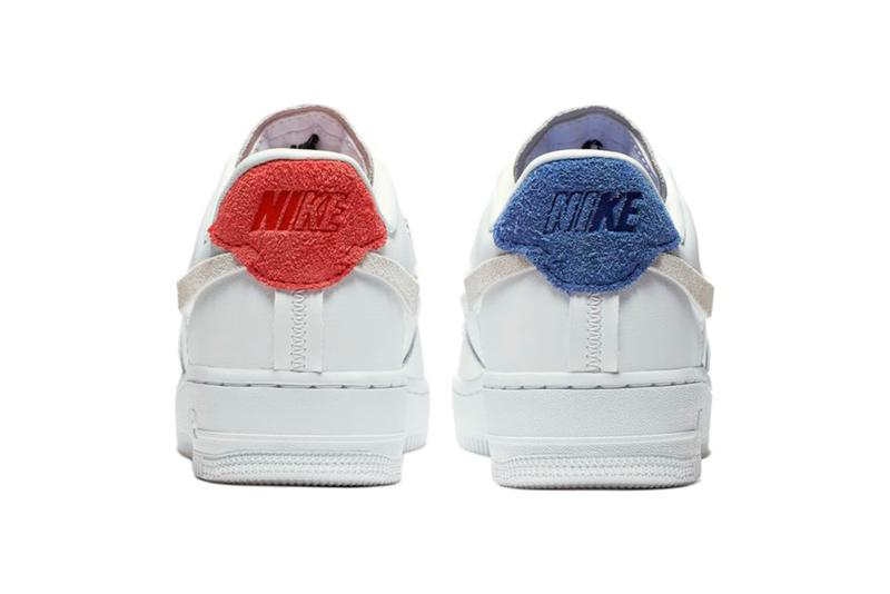 Nike Air Force 1 Vandalized Mismatched Asymmetric Swoosh Red Blue White Leather Sneakers Trainers