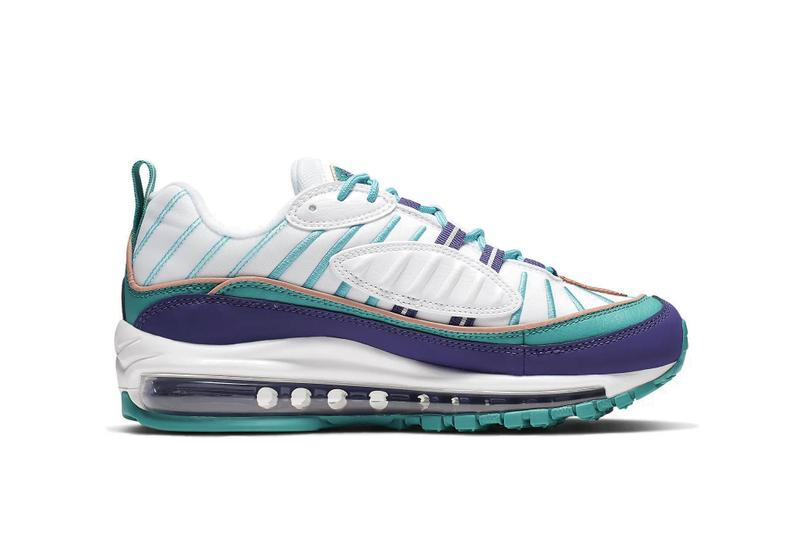 "Nike Aix Max 98 ""Court Purple/Spirit Teal"" Shoe White Turquoise Blue Summer Sneaker Trainer Release"