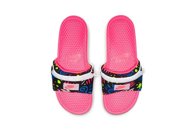 Nike Benassi JDI Fanny Pack Slide Racer Pink Photo Blue