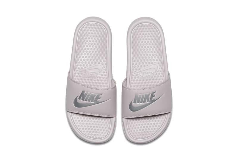 Nike Benassi Logo Slides Pink/White Summer Drop Black Sandal Pool Shoe Slippers Streetwear