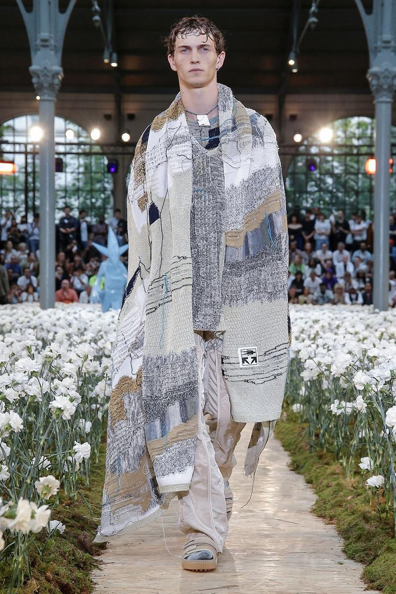 Off-White Virgil Abloh Spring Summer 2020 Paris Fashion Week Show Collection Backstage Jacket Sweater Grey Blue White