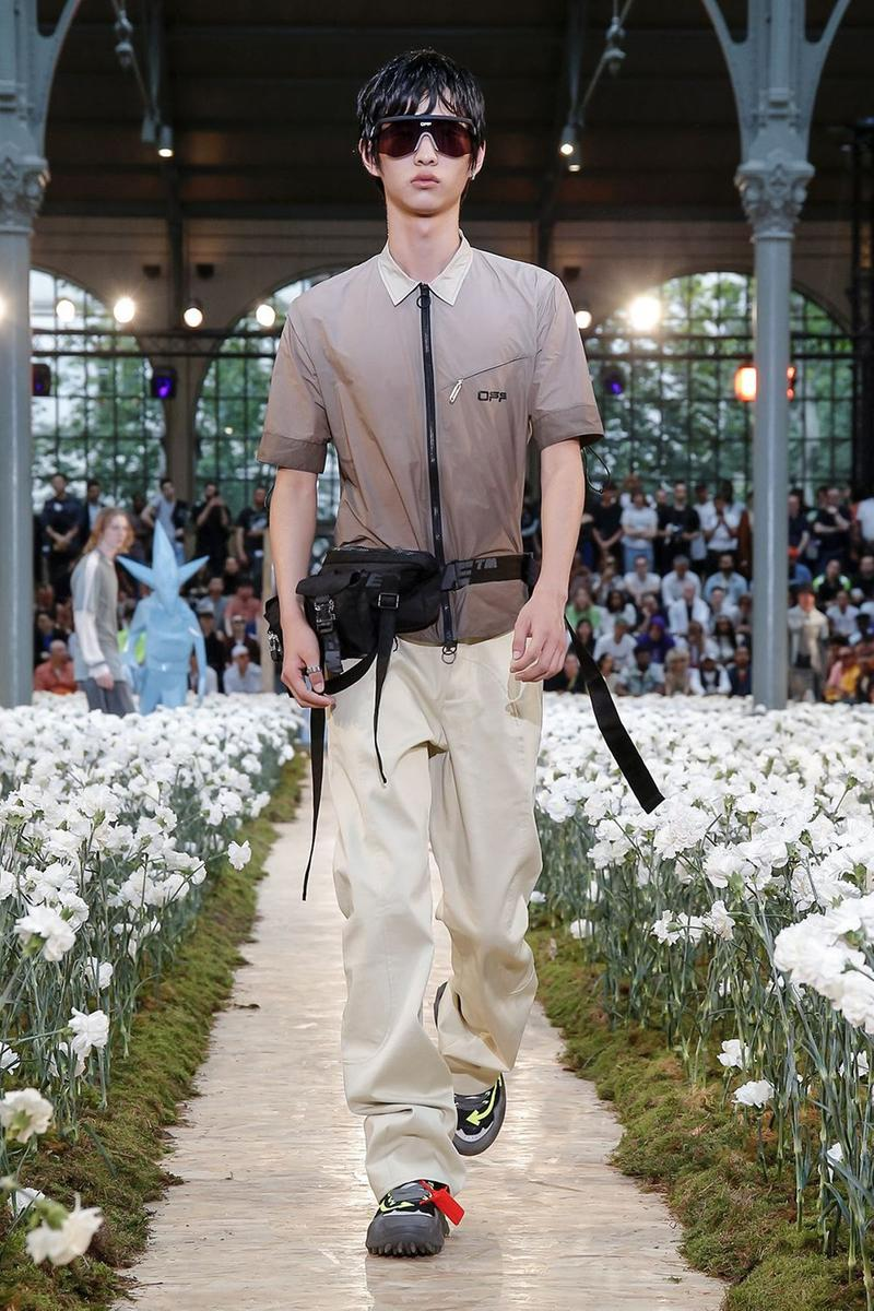 Off-White Virgil Abloh Spring Summer 2020 Paris Fashion Week Show Collection Backstage Shirt Brown Pants Tan