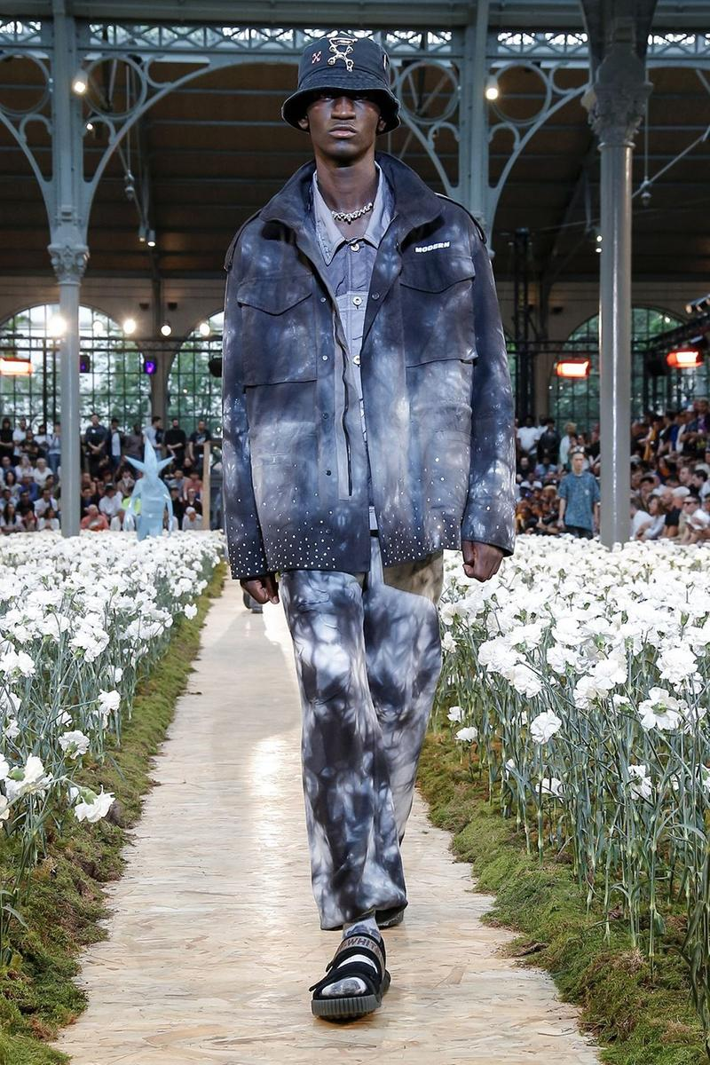 Off-White Virgil Abloh Spring Summer 2020 Paris Fashion Week Show Collection Backstage Jacket Pants Tie Dye Blue Grey