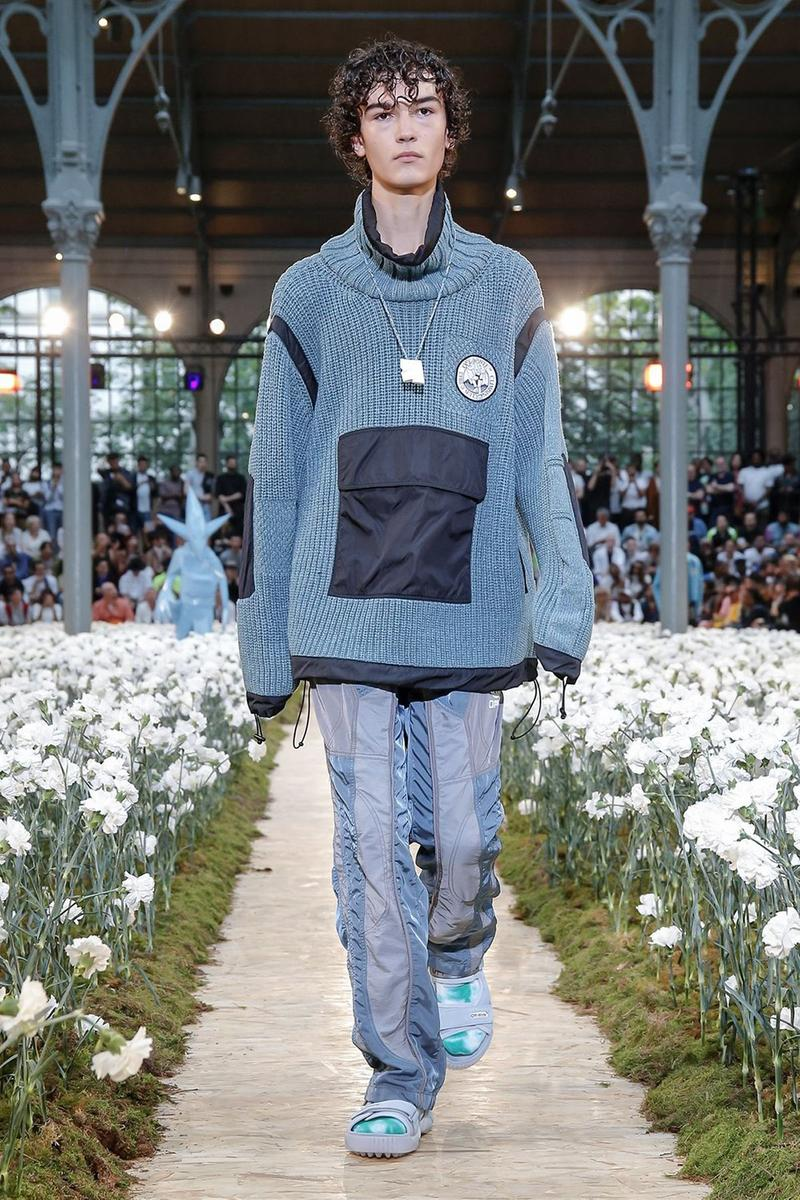 Off-White Virgil Abloh Spring Summer 2020 Paris Fashion Week Show Collection Backstage Sweater Blue Pants Grey