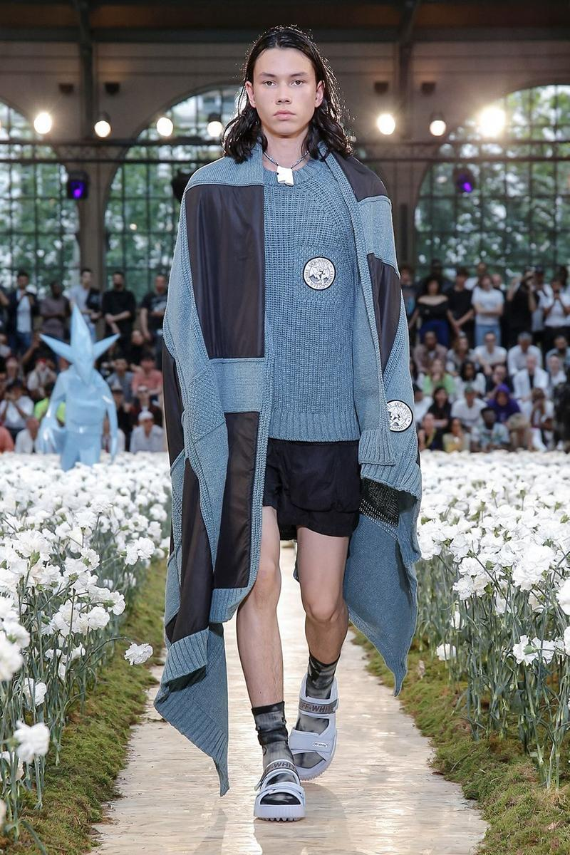 Off-White Virgil Abloh Spring Summer 2020 Paris Fashion Week Show Collection Backstage Sweater Navy Light Blue Shorts Black