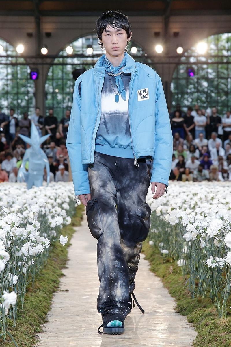 Off-White Virgil Abloh Spring Summer 2020 Paris Fashion Week Show Collection Backstage Jacket T Shirt Blue Pants Black Grey