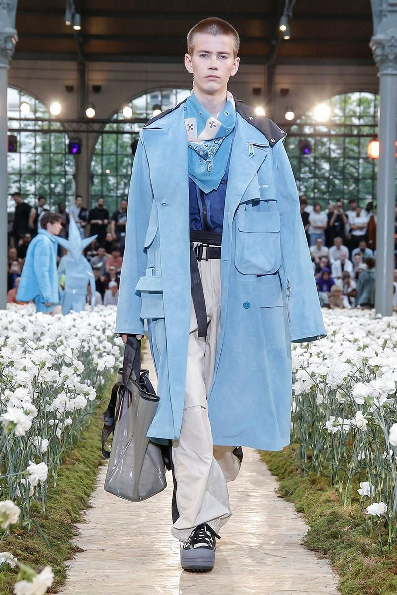 Off-White Virgil Abloh Spring Summer 2020 Paris Fashion Week Show Collection Backstage Jacket Blue Pants Grey