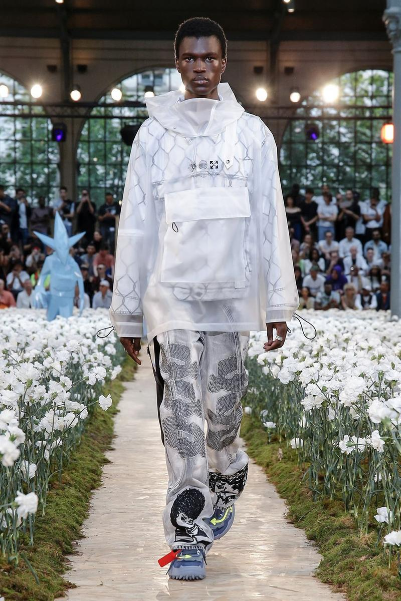 Off-White Virgil Abloh Spring Summer 2020 Paris Fashion Week Show Collection Backstage Raincoat White Pants Grey Black