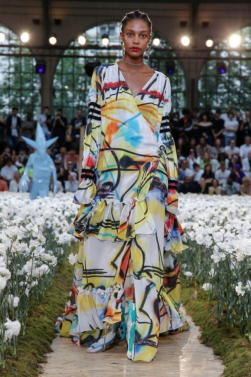 Off-White Virgil Abloh Spring Summer 2020 Paris Fashion Week Show Collection Backstage Gown White Yellow Red Blue