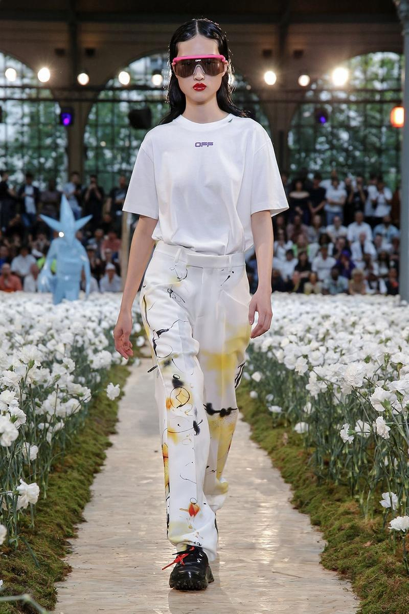 Off-White Virgil Abloh Spring Summer 2020 Paris Fashion Week Show Collection Backstage T Shirt Pants White Yellow