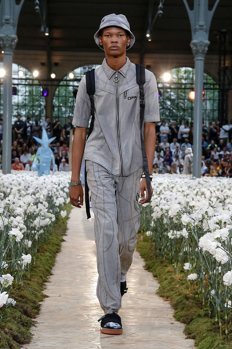Off-White Virgil Abloh Spring Summer 2020 Paris Fashion Week Show Collection Backstage Top Pants Bucket Hat Grey