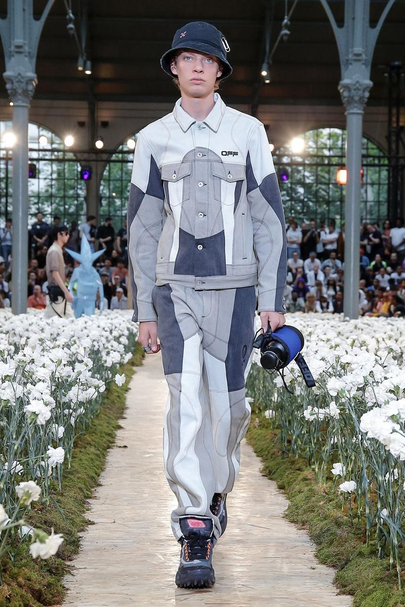 Off-White Virgil Abloh Spring Summer 2020 Paris Fashion Week Show Collection Backstage Denim Jacket Pants Blue Navy