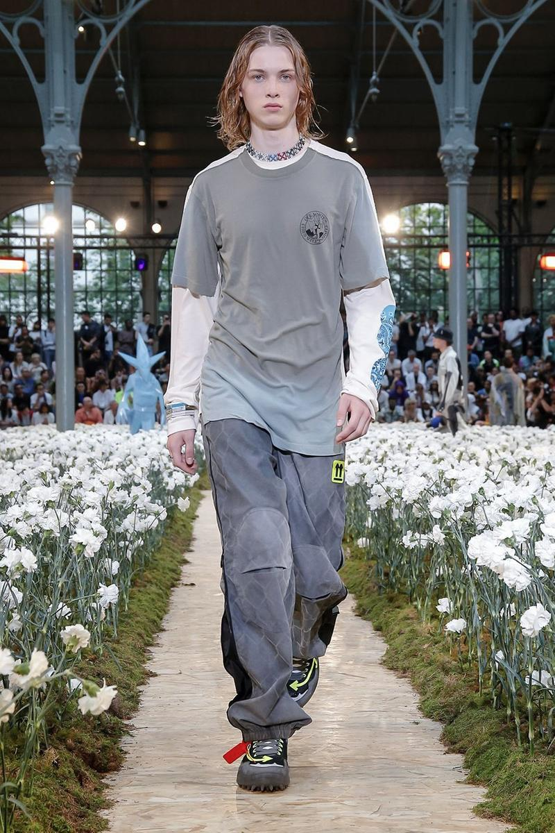 Off-White Virgil Abloh Spring Summer 2020 Paris Fashion Week Show Collection Backstage T Shirt Pants Grey White