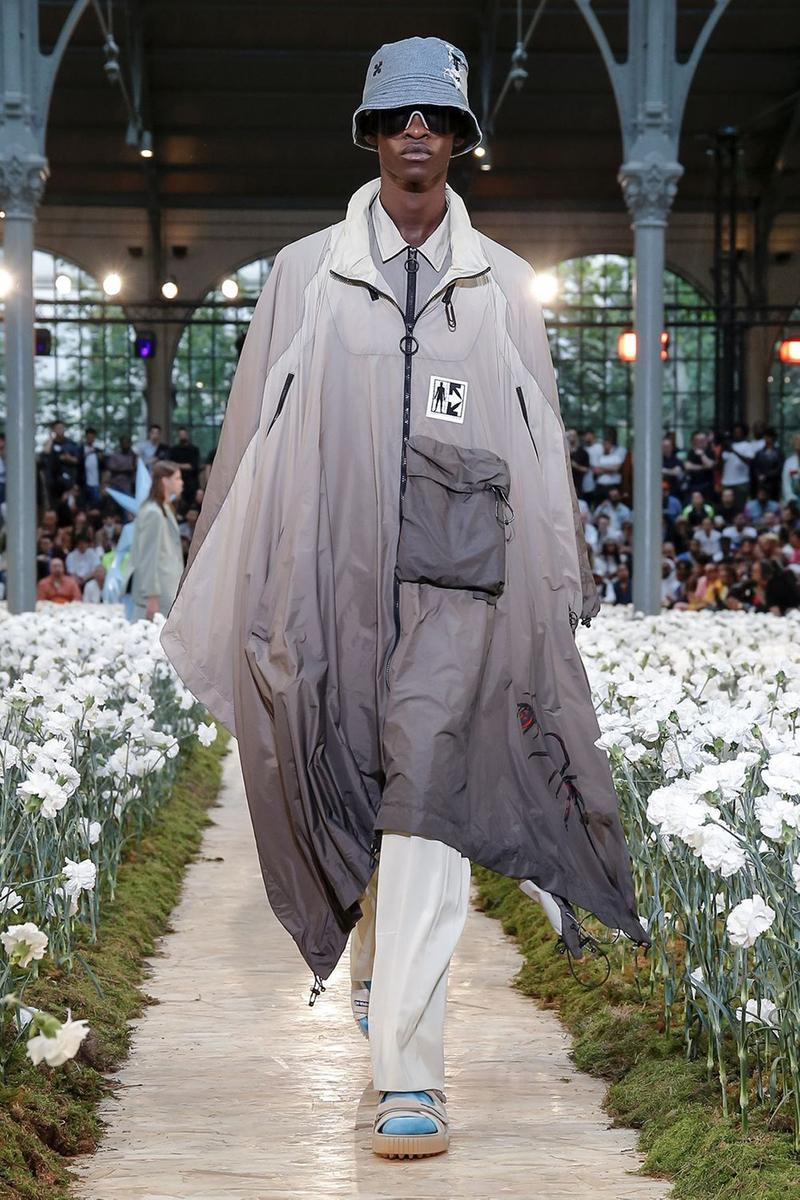 Off-White Virgil Abloh Spring Summer 2020 Paris Fashion Week Show Collection Backstage Jacket Grey Pants White Hat Blue